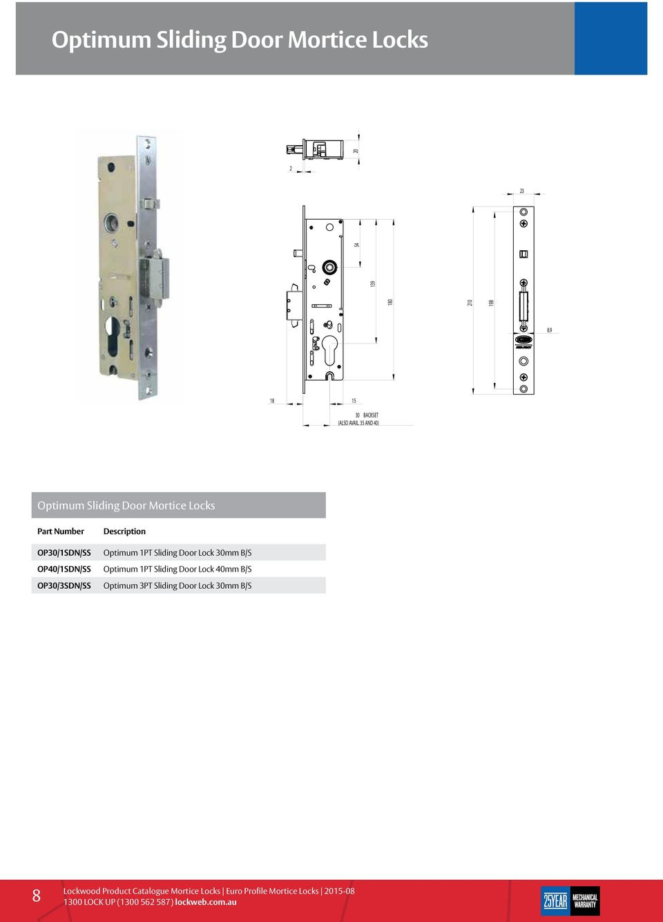 35 AND 40) 18 Optimum Sliding Door Mortice Locks OP30/1SDN/SS OP40/1SDN/SS