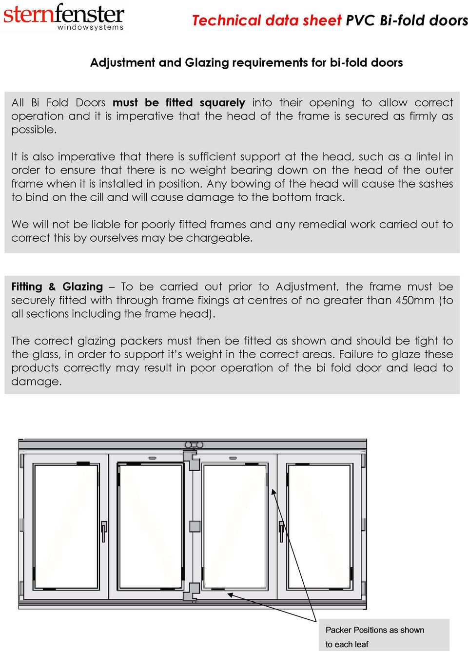It is also imperative that there is sufficient support at the head, such as a lintel in order to ensure that there is no weight bearing down on the head of the outer frame when it is installed in