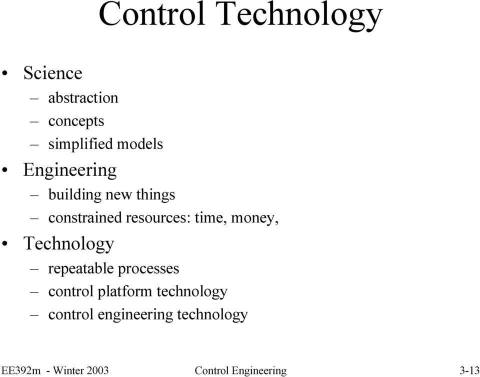Technology repeatable processes control platform technology control