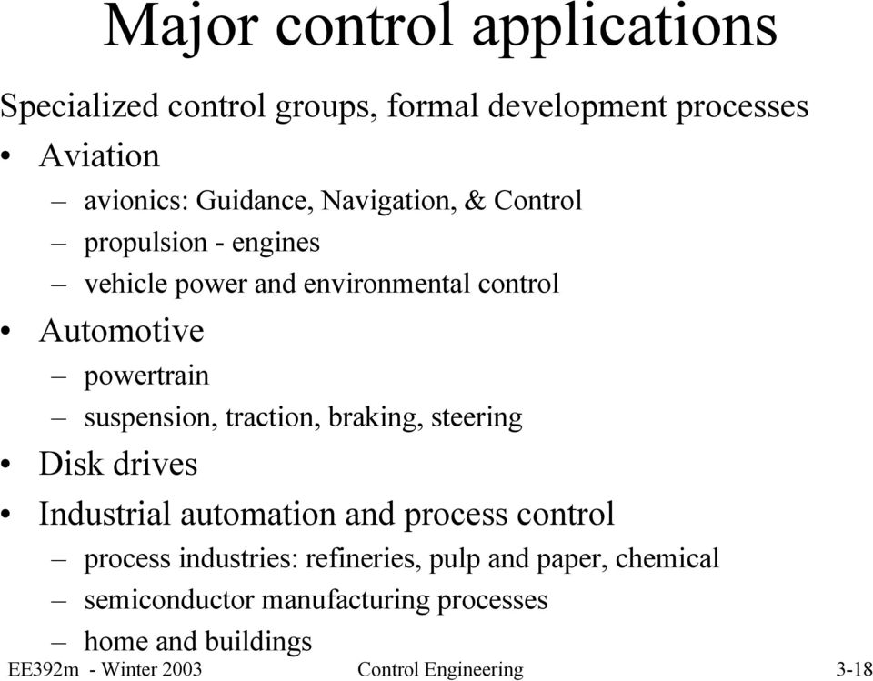 traction, braking, steering Disk drives Industrial automation and process control process industries: refineries,