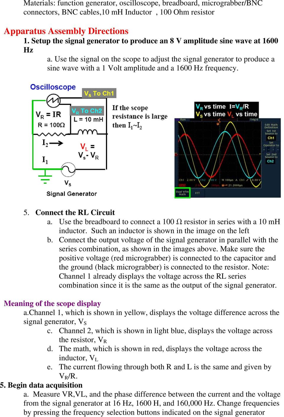 Physics 15b Lab 4 Responses To Time Dependent Voltages Pdf Sine Wave Generator Circuit Diagram Use The Signal On Scope Adjust Produce A