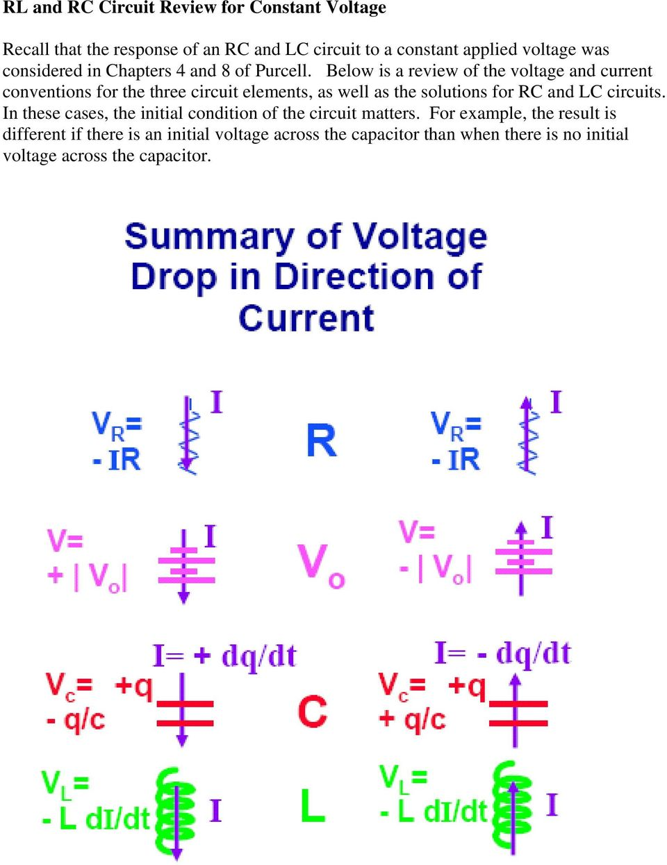 Physics 15b Lab 4 Responses To Time Dependent Voltages Pdf Constant Voltage Circuit Below Is A Review Of The And Current Conventions For Three Elements