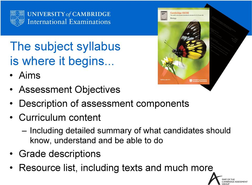 Curriculum content Including detailed summary of what candidates