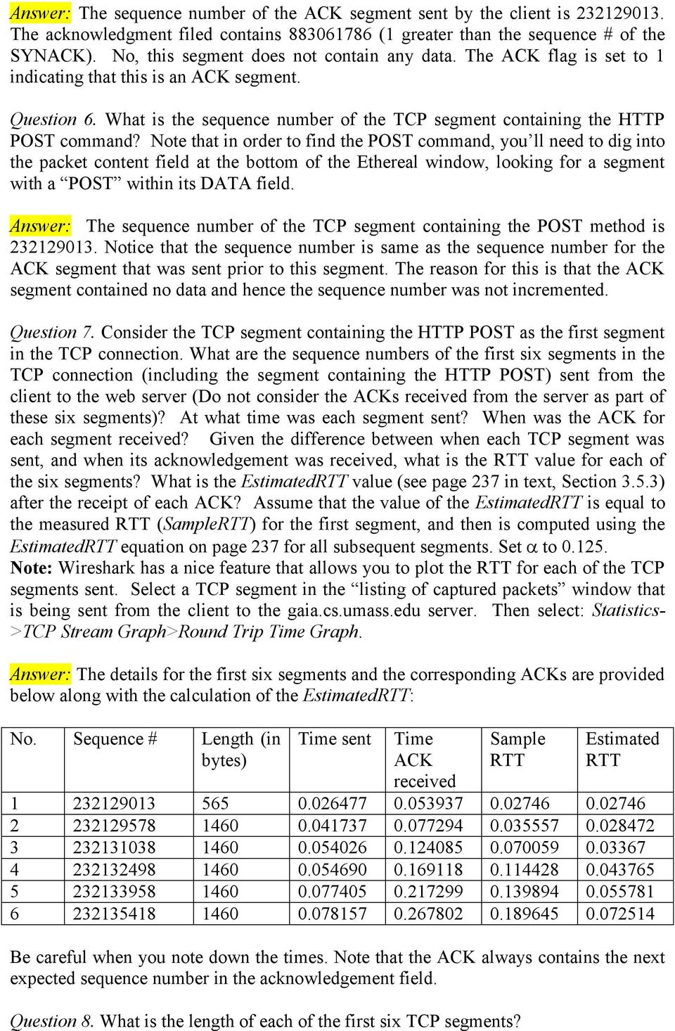 What is the sequence number of the TCP segment containing the HTTP POST command?