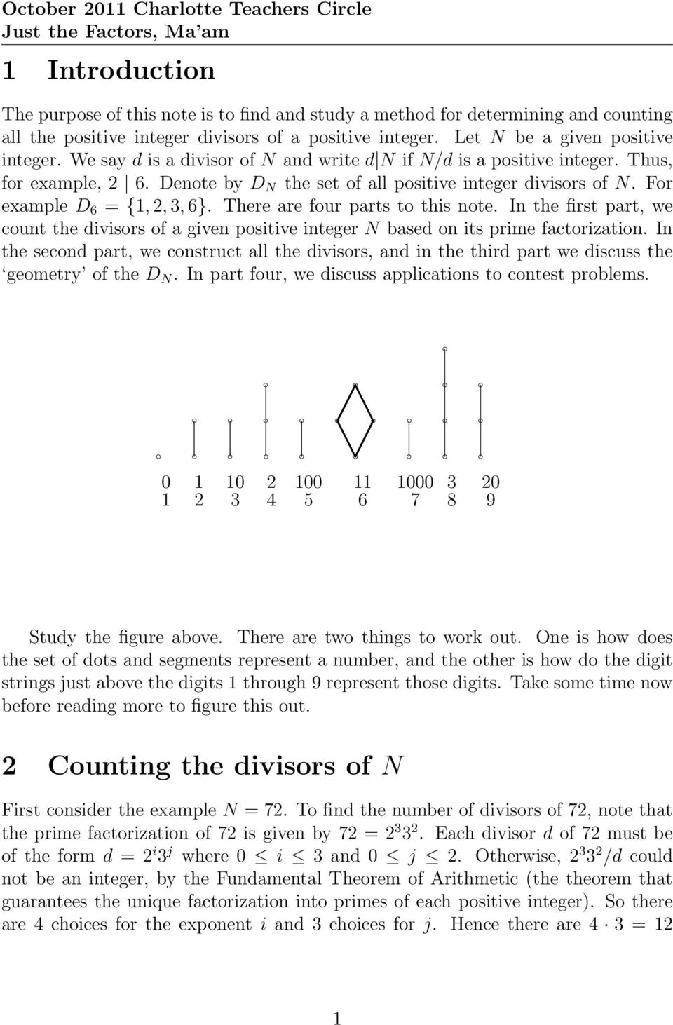 note In the first part, we count the divisors of a given positive integer N based on its prime factorization In the second part, we construct all the divisors, and in the third part we discuss the