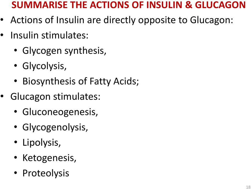 synthesis, Glycolysis, Biosynthesis of Fatty Acids; Glucagon
