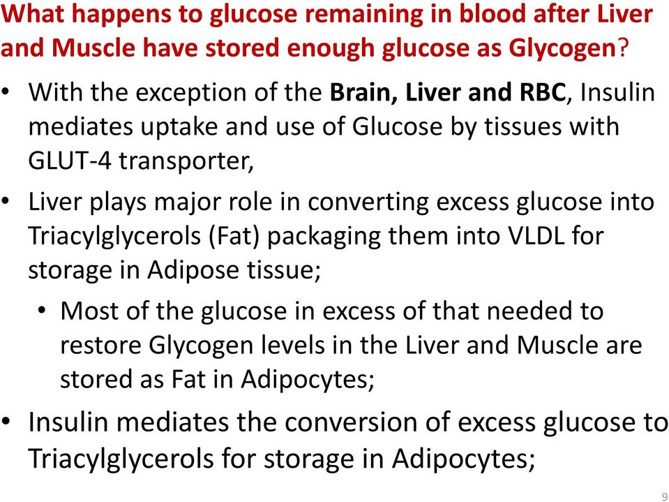 role in converting excess glucose into Triacylglycerols (Fat) packaging them into VLDL for storage in Adipose tissue; Most of the glucose in excess