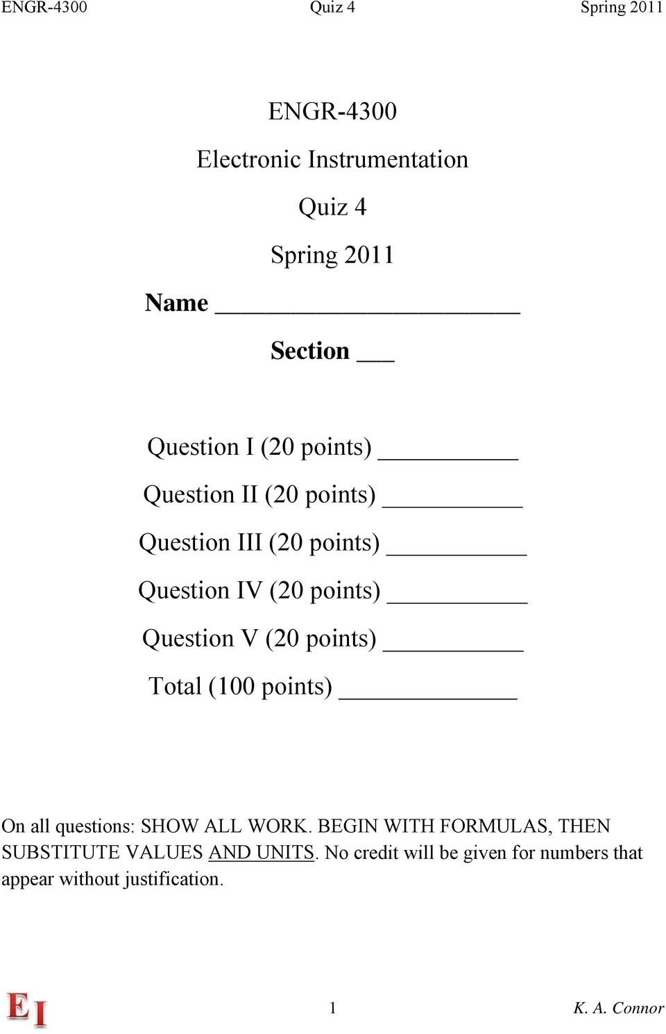 points) Total (100 points) On all questions: SHOW ALL WORK.