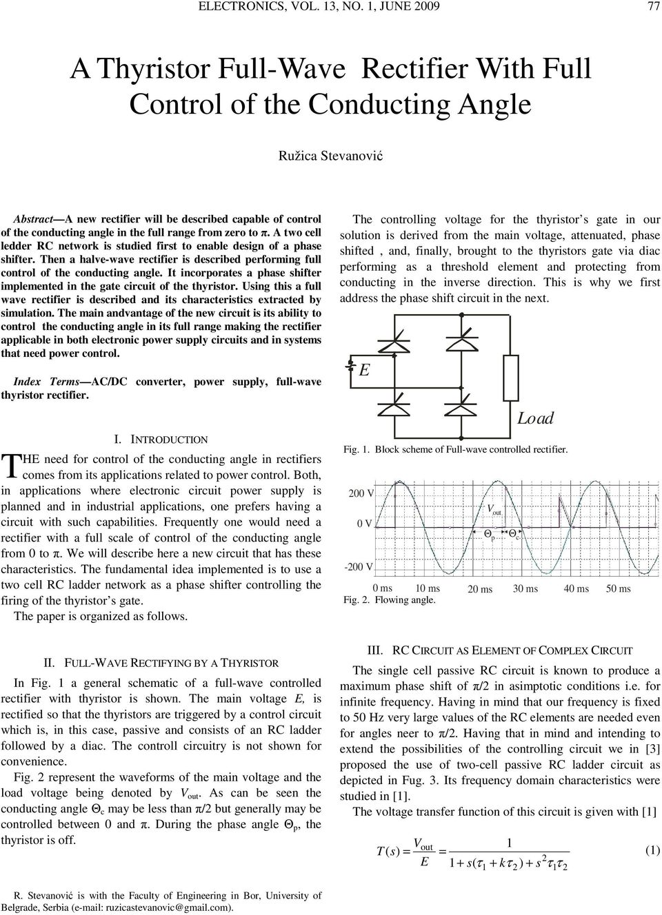 A Thyristor Full Wave Rectifier With Control Of The Conducting Triac Voltage Controller Public Circuit Online Simulator Range From Zero To Two Cell Ledder C Network Is Studied First