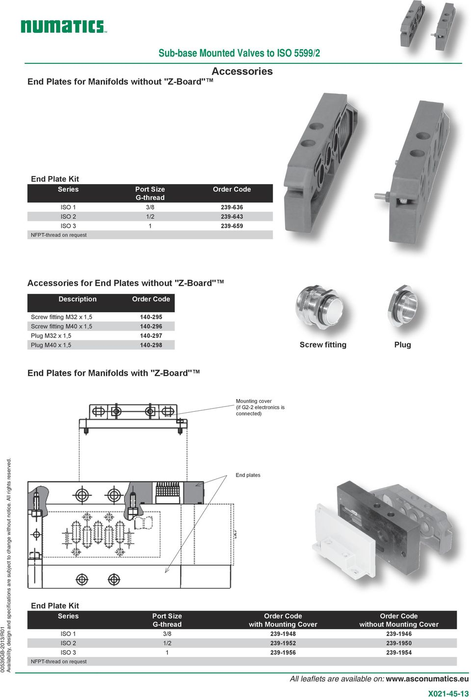 "0-298 Screw fitting Plug End Plates for Manifolds with ""Z-Board"" Mounting cover (if G2-2 electronics is connected) End Plate Kit Series NFPT-thread on request"