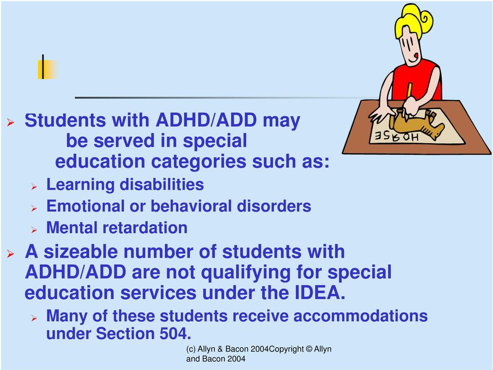 sizeable number of students with ADHD/ADD are not qualifying for special