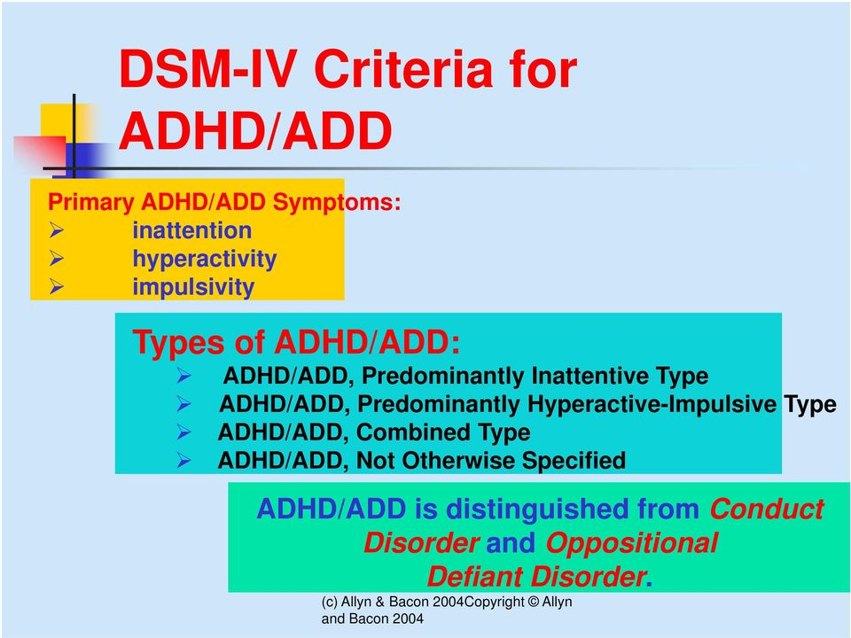 Predominantly Hyperactive-Impulsive Type ADHD/ADD, Combined Type ADHD/ADD, Not
