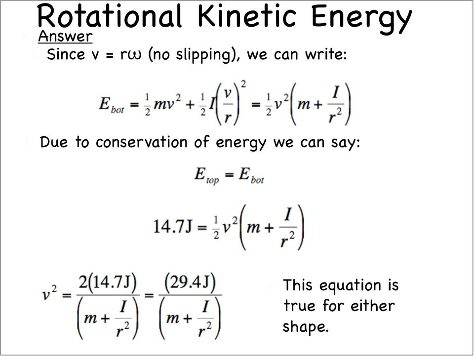 to conservation of energy we can say: