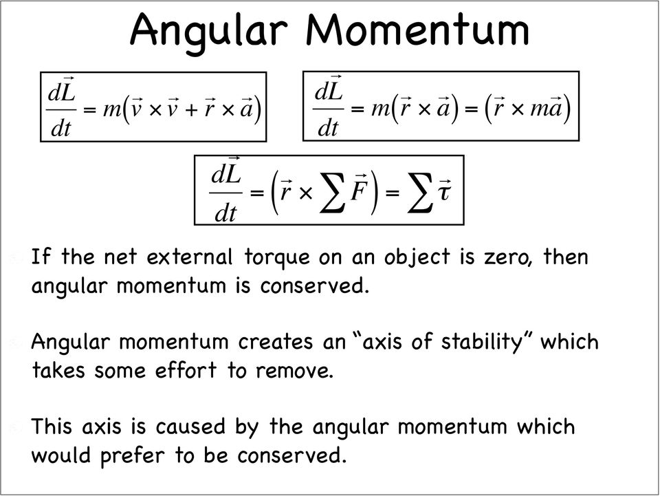 dl dt = r F ( ) = τ Angular momentum creates an axis of stability which takes some