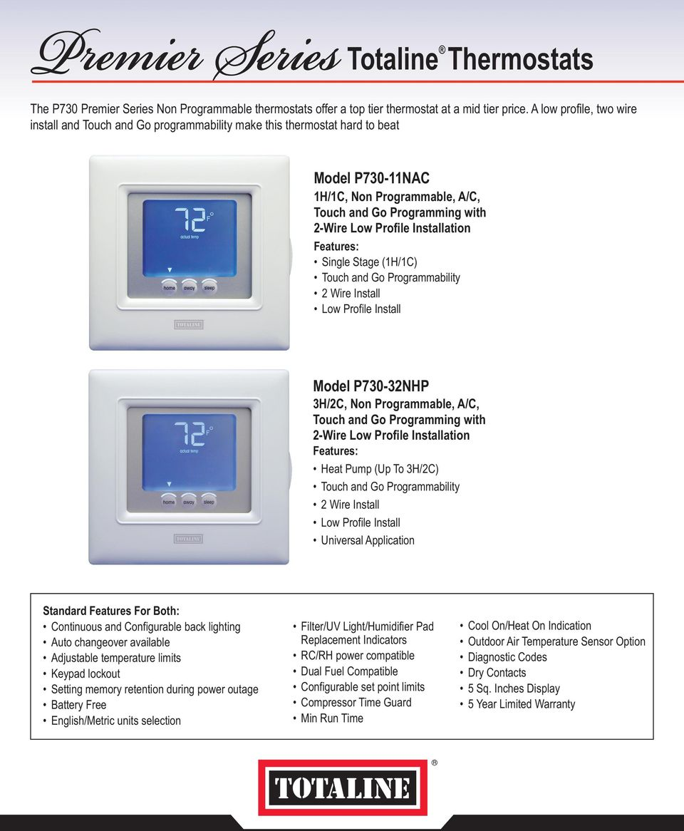 The Totaline Premier Series of thermostats consists of programmable on