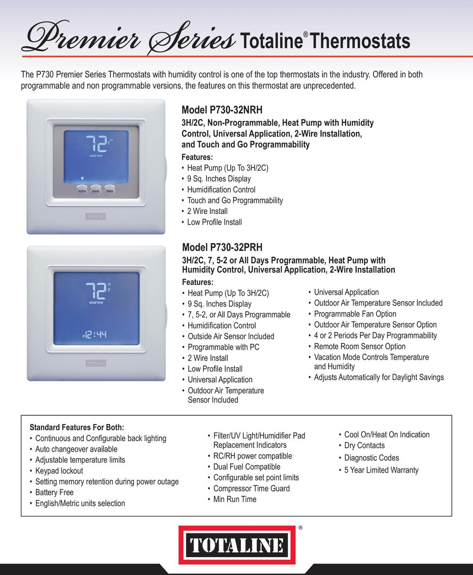 Totaline Premier Residential Programmable Thermostat P274 Wiring Diagram Split Package Pumps Auxiliary Sacamlibplrae Tiowniring Page Every Calibrated Before It Leaves Factory Regulate Homes G 1a Description Tb8220u