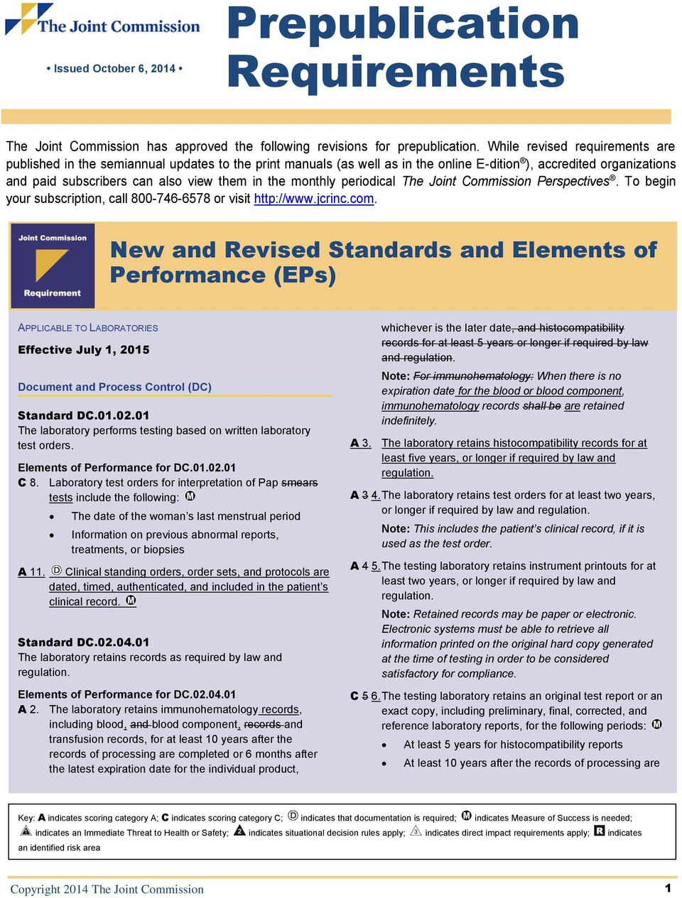 monthly periodical The Joint Commission Perspectives. To begin your subscription, call 800-746-6578 or visit http://www.jcrinc.com.