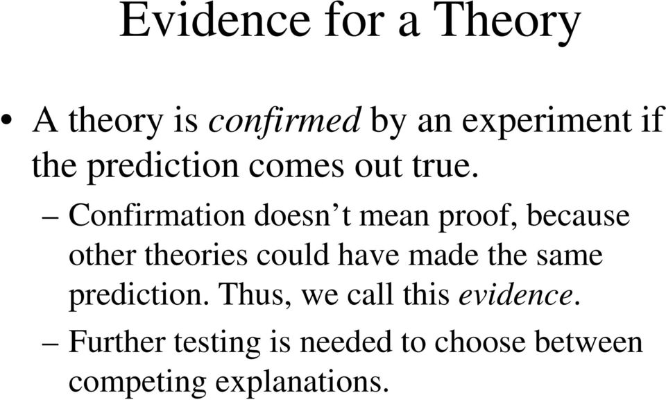 Confirmation doesn t mean proof, because other theories could have