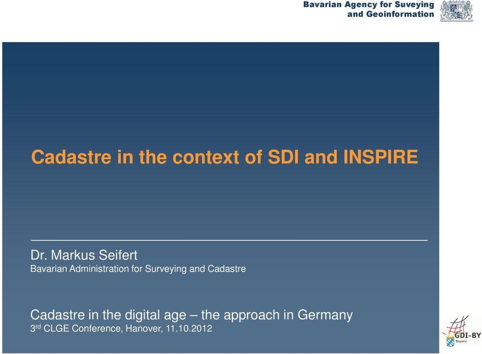 Surveying and Cadastre Cadastre in the digital age