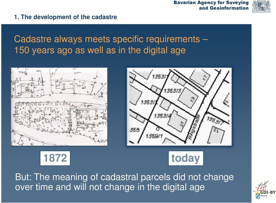 digital age 1872 today But: The meaning of cadastral