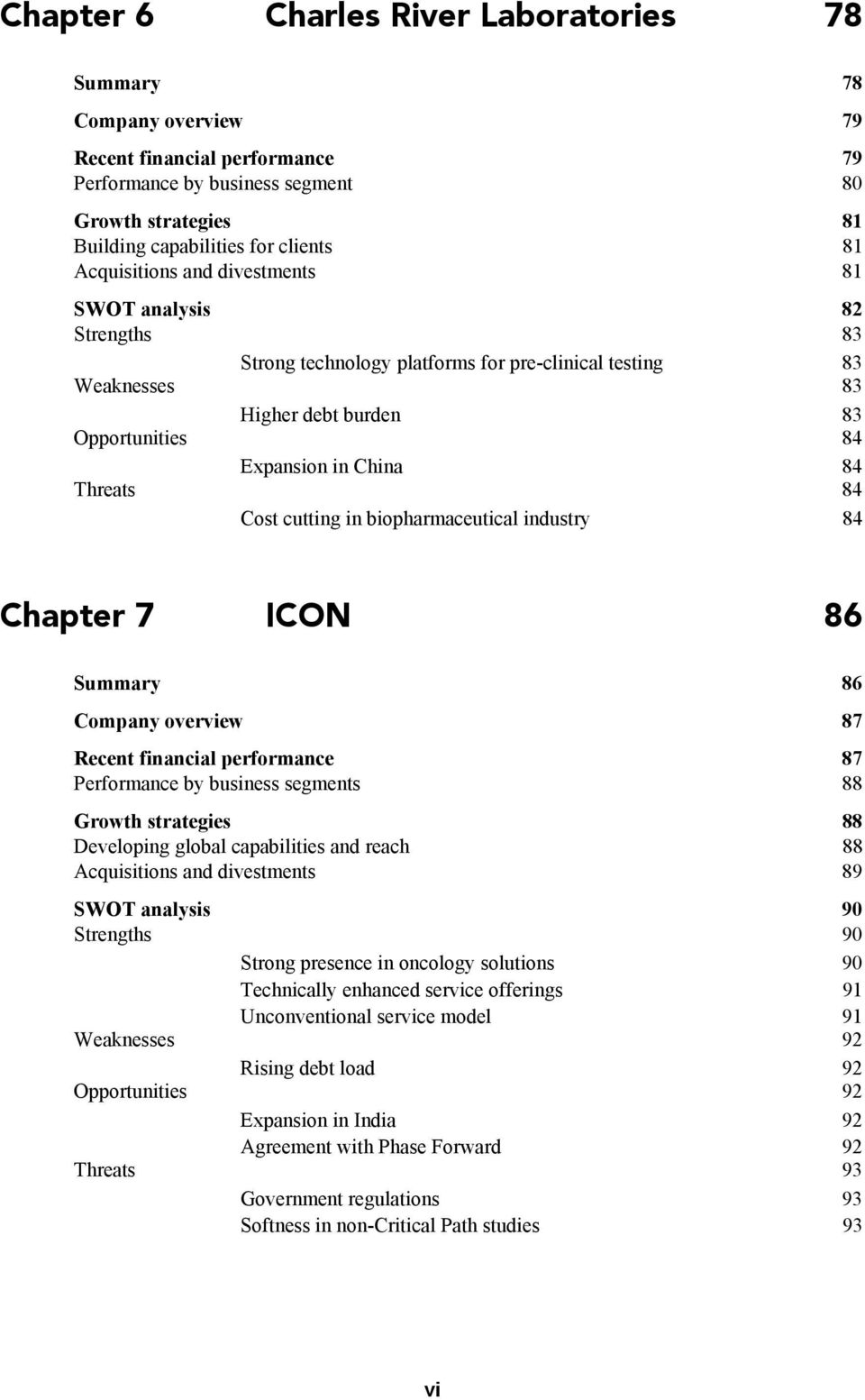 biopharmaceutical industry 84 Chapter 7 ICON 86 Summary 86 Company overview 87 Recent financial performance 87 Performance by business segments 88 Growth strategies 88 Developing global capabilities