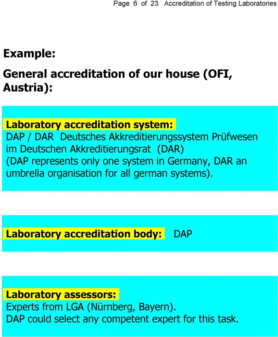 (DAR) (DAP represents only one system in Germany, DAR an umbrella organisation for all german systems).