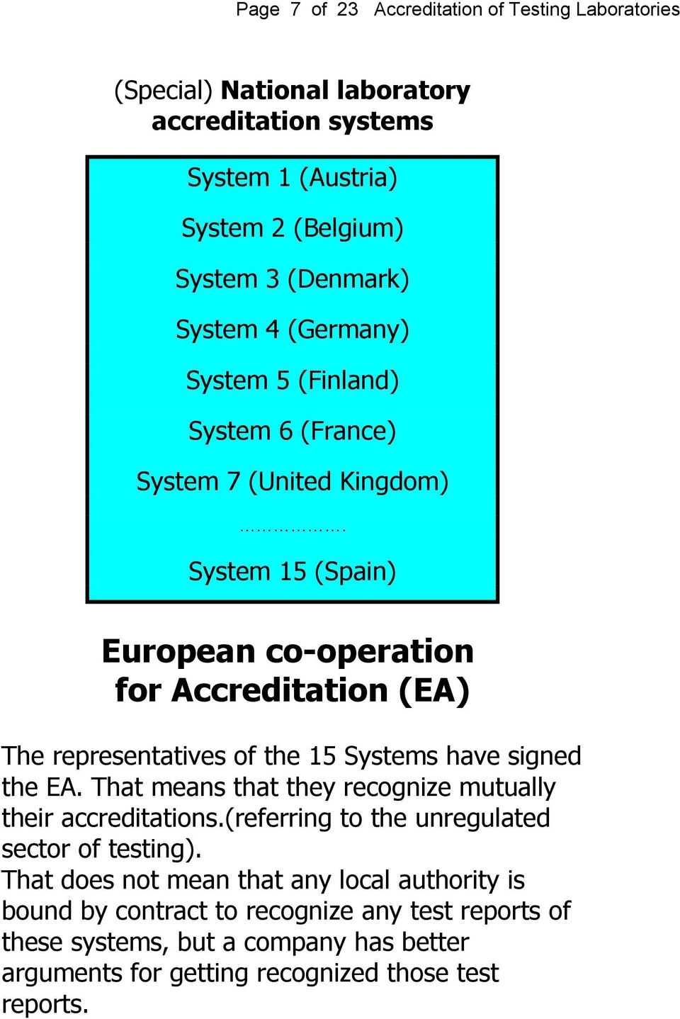 System 15 (Spain) European co-operation for Accreditation (EA) The representatives of the 15 Systems have signed the EA.