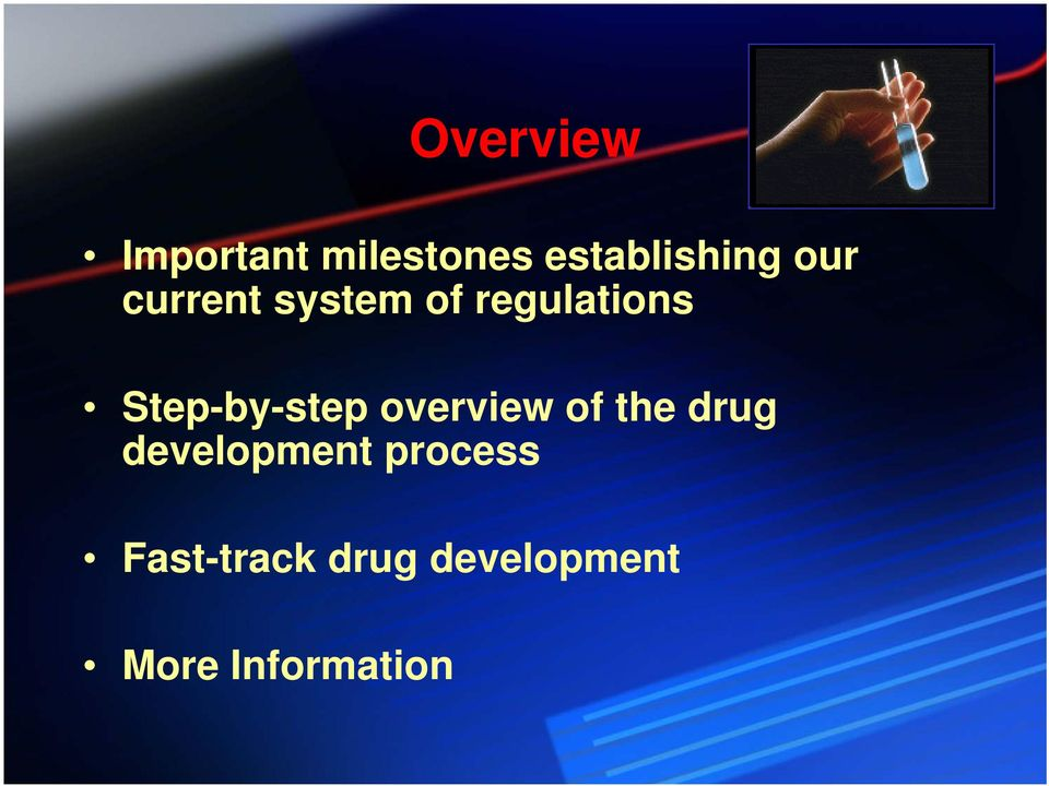 Step-by-step overview of the drug