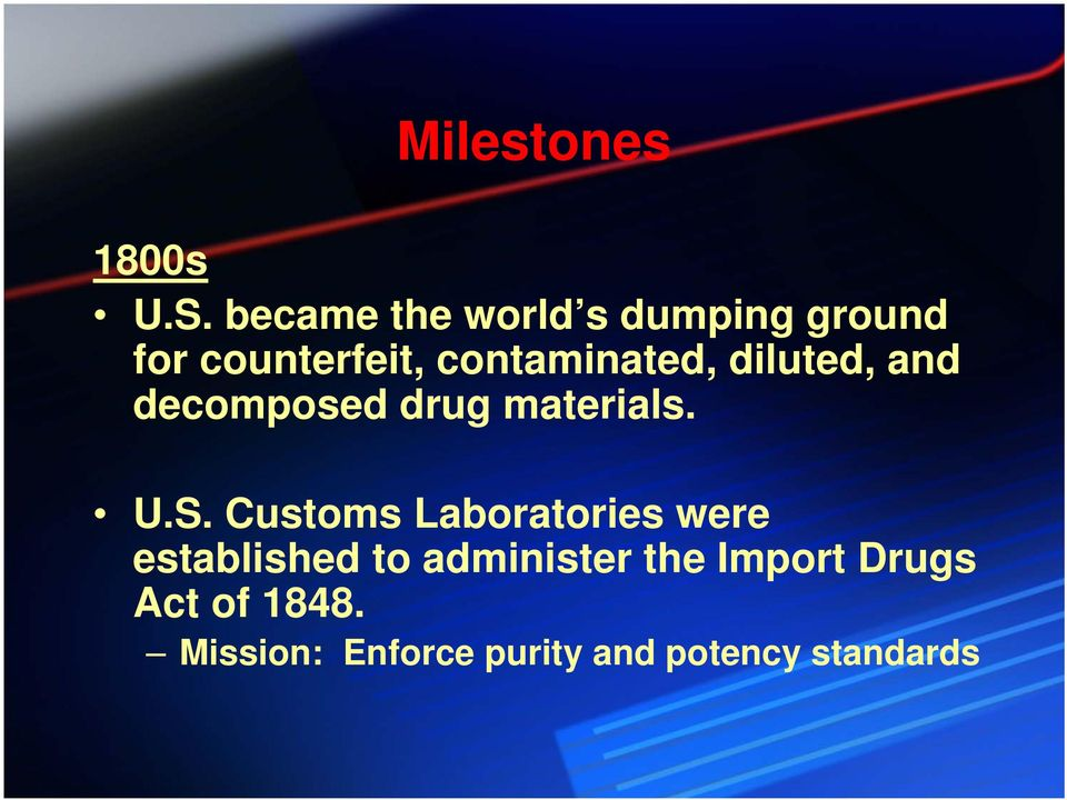 diluted, and decomposed drug materials. U.S.