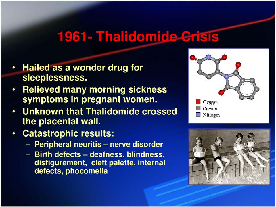 Unknown that Thalidomide crossed the placental wall.