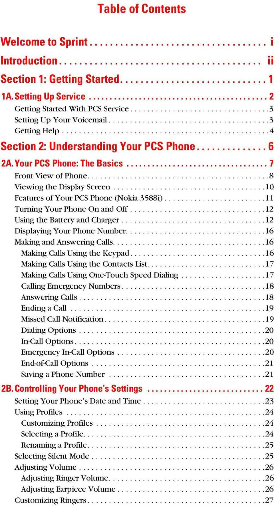 ................................................4 Section 2: Understanding Your PCS Phone.............. 6 2A.Your PCS Phone: The Basics.................................. 7 Front View of Phone.