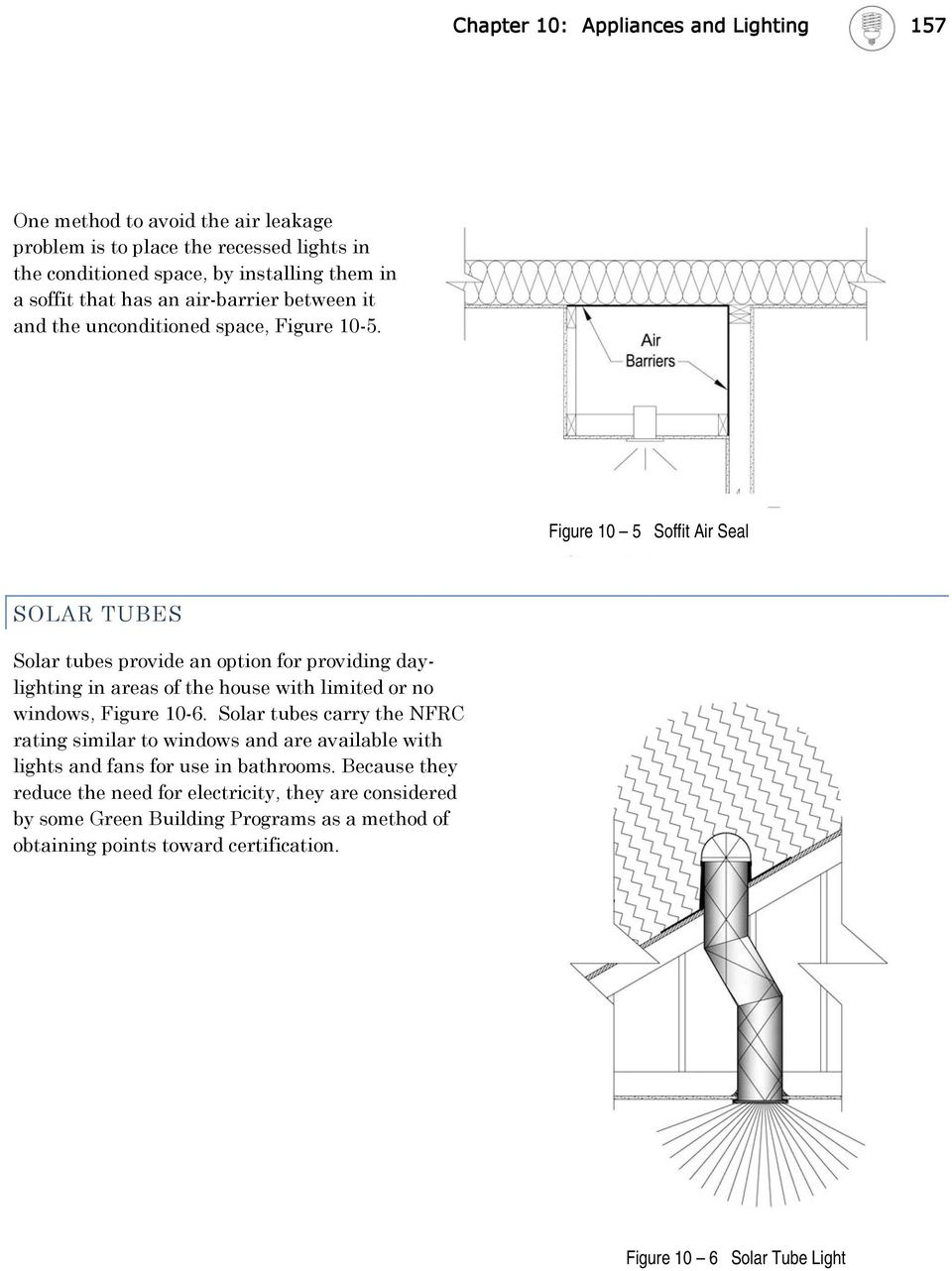 Figure 10 5 Soffit Air Seal SOLAR TUBES Solar tubes provide an option for providing daylighting in areas of the house with limited or no windows, Figure 10-6.