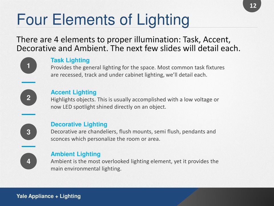 2 Accent Lighting Highlights objects. This is usually accomplished with a low voltage or now LED spotlight shined directly on an object.