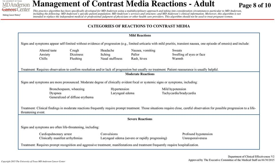 8 of 10 CATEGORIES OF REACTIONS TO CONTRAST MEDIA Mild Reactions Sign