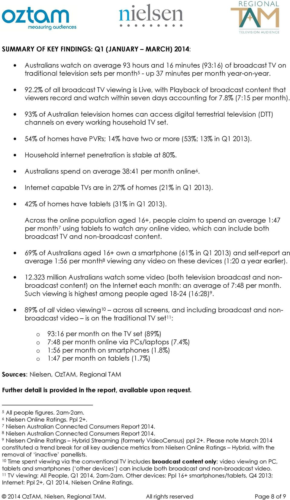 93% of Australian television homes can access digital terrestrial television (DTT) channels on every working household TV set. 54% of homes have PVRs; 14% have two or more (53%; 13% in Q1 2013).