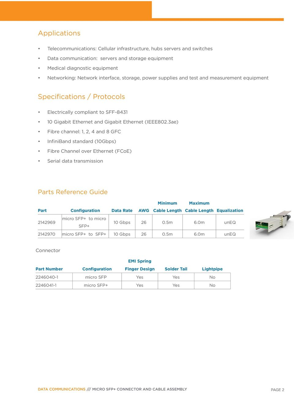 3ae) Fibre channel: 1, 2, 4 and 8 GFC InfiniBand standard (10Gbps) Fibre Channel over Ethernet (FCoE) Serial data transmission Parts Reference Guide Minimum Part Configuration Data Rate AWG Cable