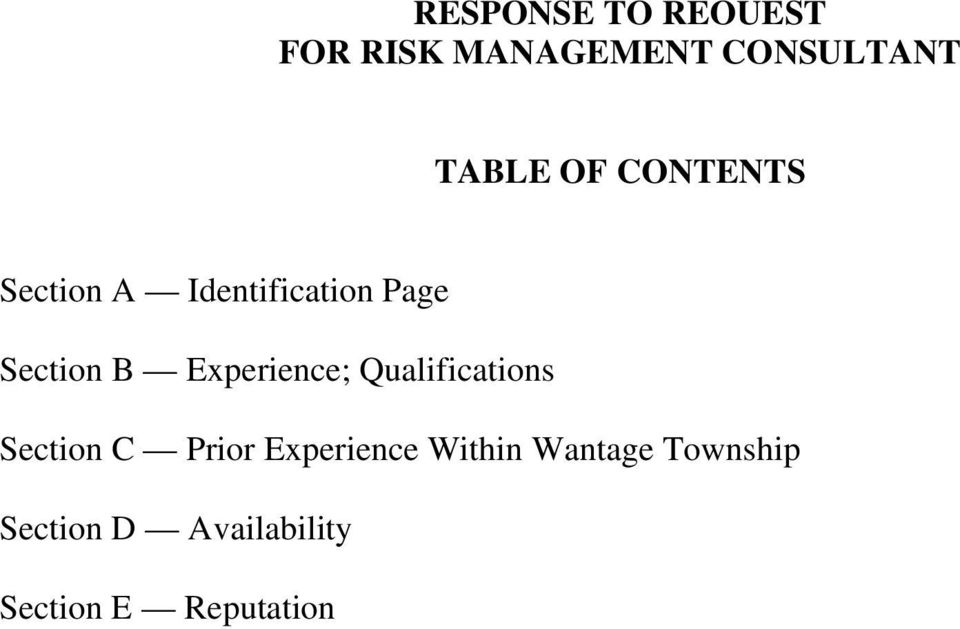 Experience; Qualifications Section C Prior Experience