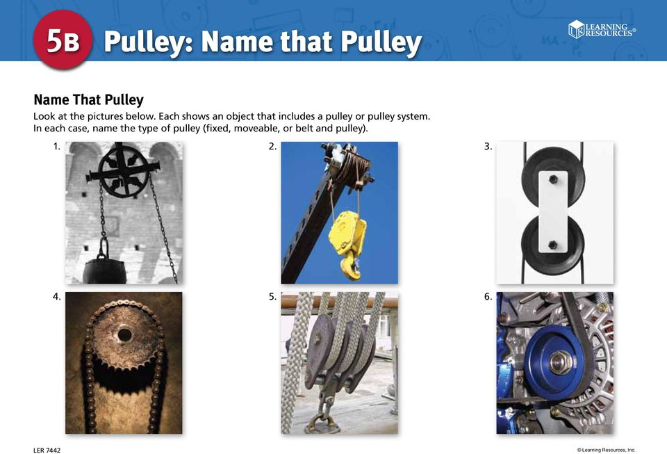 Each shows an object that includes a pulley or pulley system.