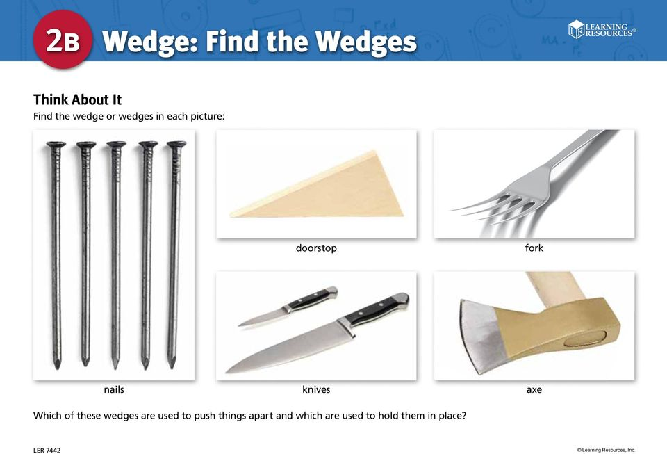 nails knives axe Which of these wedges are used to