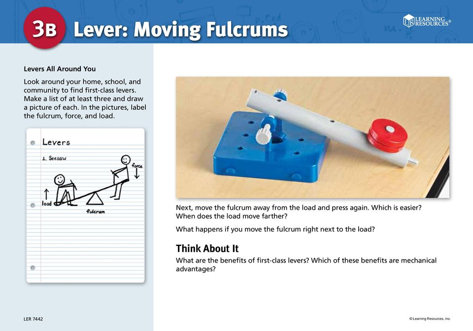 Next, move the fulcrum away from the load and press again. Which is easier? When does the load move farther?