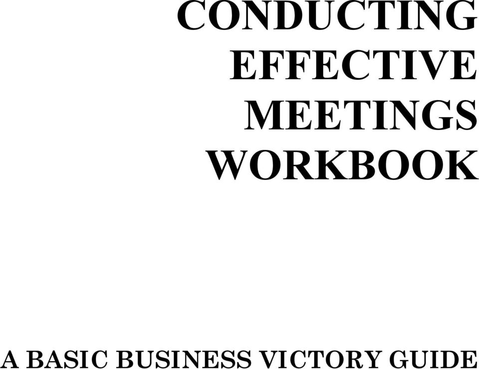 MEETINGS WORKBOOK