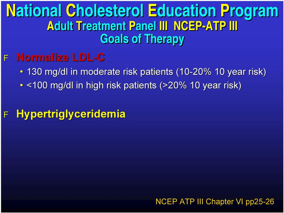 <100 mg/dl in high risk patients (>20% 10 year