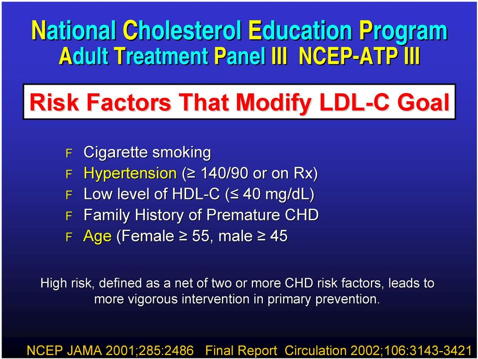 mg/dl dl) amily History of Premature CHD Age (emale 55, male 45 High risk, defined as a net