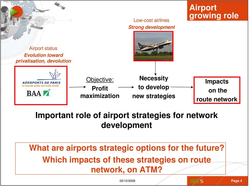 on the route network Important role of airport strategies for network development What are airports