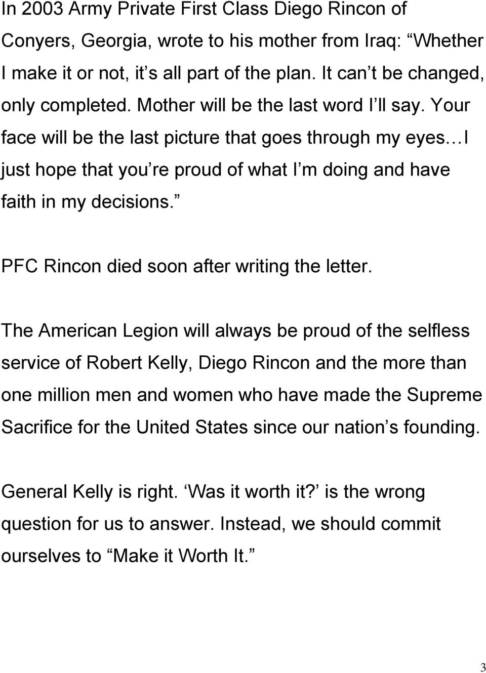 PFC Rincon died soon after writing the letter.