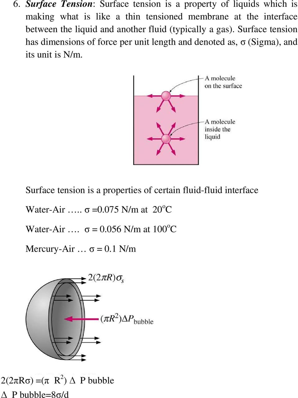 Surface tension has dimensions of force per unit length and denoted as, σ (Sigma), and its unit is N/m.