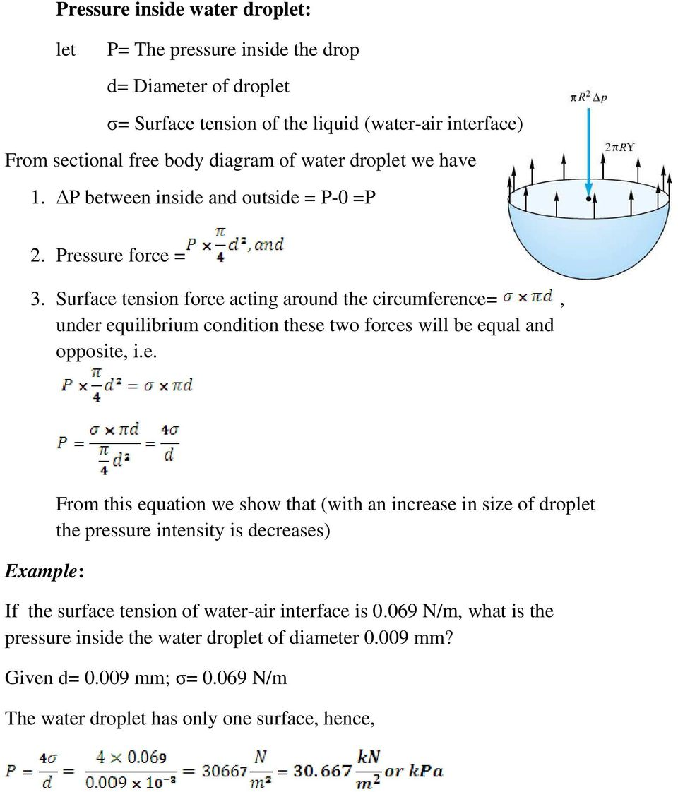 Surface tension force acting around the circumference=, under equilibrium condition these two forces will be equal and opposite, i.e. Example: From this equation we show that (with an increase in size of droplet the pressure intensity is decreases) If the surface tension of water-air interface is 0.