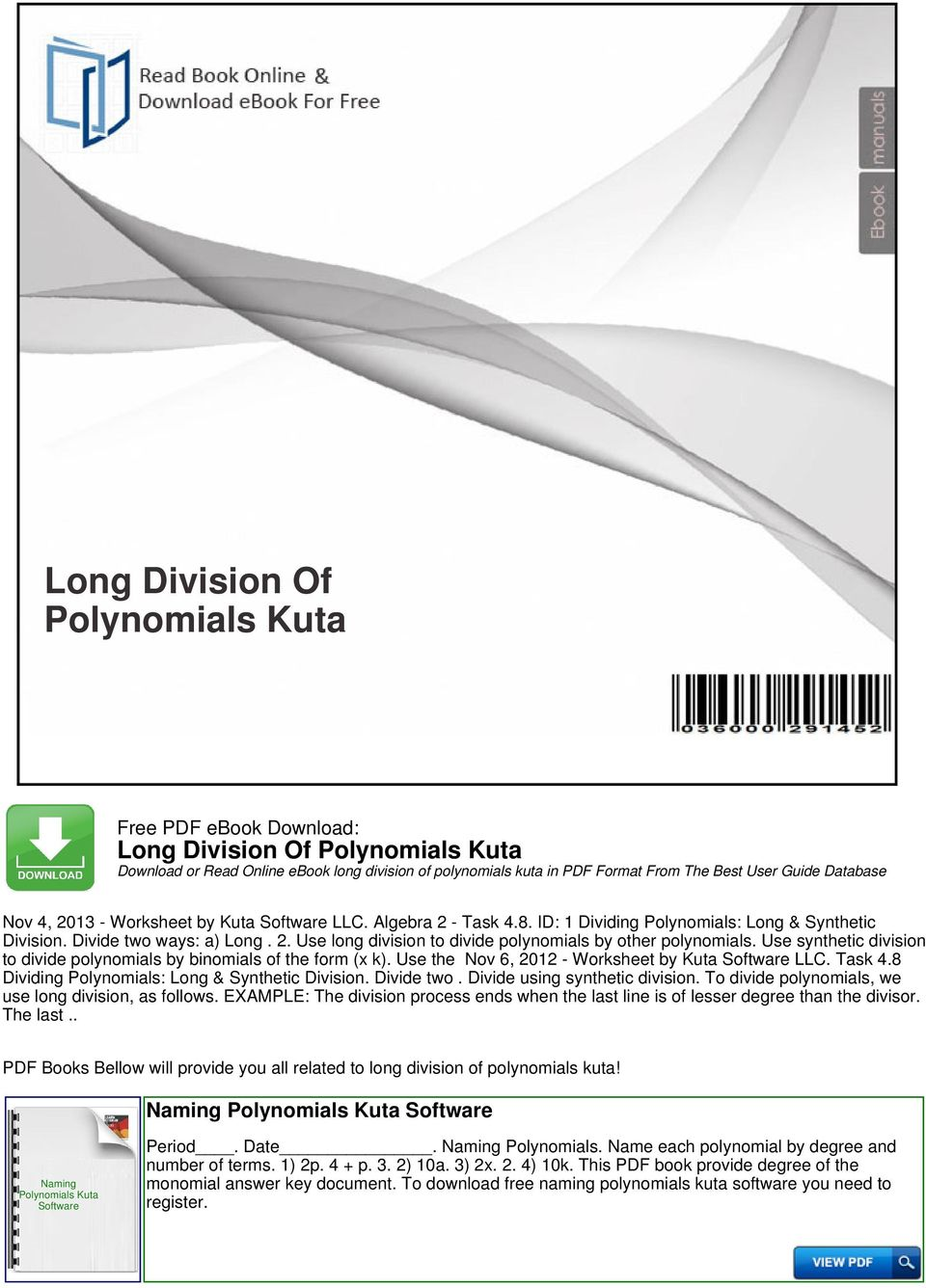 Long Division Of Polynomials Kuta Pdf