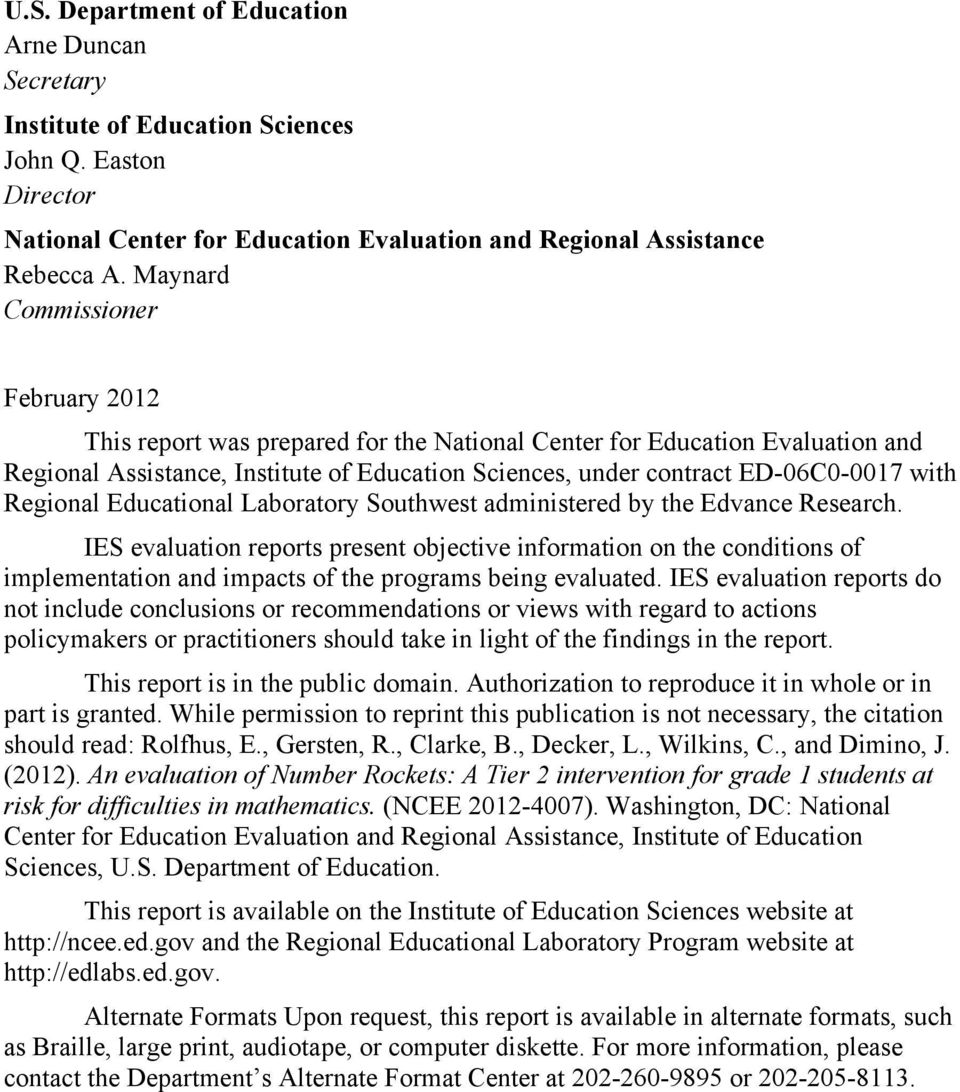 Regional Educational Laboratory Southwest administered by the Edvance Research.