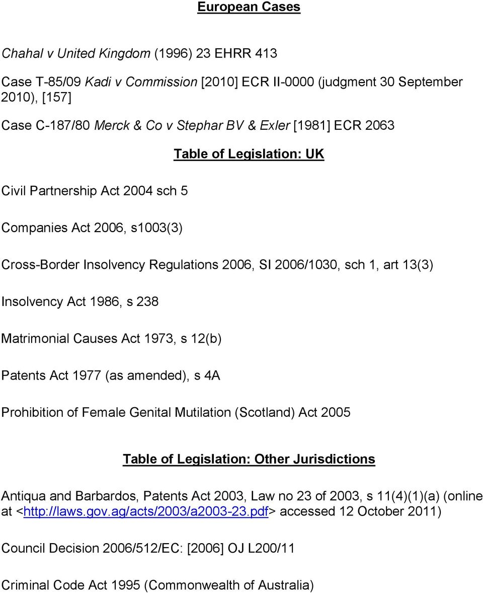 Matrimonial Causes Act 1973, s 12(b) Patents Act 1977 (as amended), s 4A Prohibition of Female Genital Mutilation (Scotland) Act 2005 Table of Legislation: Other Jurisdictions Antiqua and Barbardos,